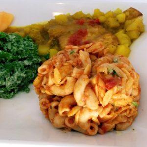 Curry Tofu, Pasta Marinara, and Kale Salad