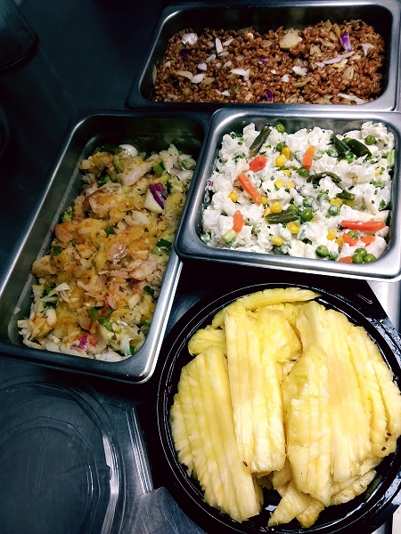 Lime Garlic Fish,Farro,Potato Salad and pineapple Family Meal